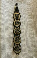 Horse Leather Strap with 5 Medallions Horse Brass Castle Hog Phoenix Harvest VTG