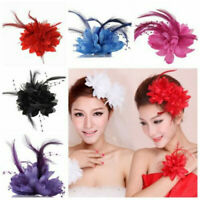 1PC Bridal Flower Feather Bead Hair Clips Fascinator Hairband Brooch Pin Wedding