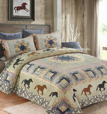 HORSE MEDLEY 3pc Full Queen QUILT SET : PATCH WESTERN COWBOY RANCH GREEN FLORAL