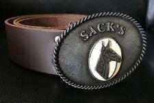 SACK'S Genuine Dark Brown Leather Belt w/ Metal Buckle sz XS/38