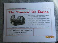 "1907 Campbell Gas Engine Co. ""Samson"" Oil Engine Info Catalog Halifax England"