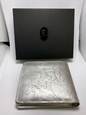 A BATHING APE SILVER LEATHER WALLET M 100 % Authentic COWHIDE Bape With Box
