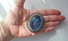 Vtg Retro Large Aqua Blue Glass Carved Cameo Lady Gold Tone Pot Metal Pin Brooch