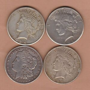 FOUR USA SILVER DOLLARS 1921/1922S/1923S & 1925 VERY FINE OR BETTER CONDITION