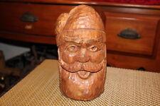 """Antique Wood Carved Santa Claus-Signed """"HR""""-Primitive Folk Art Carving-Christmas"""