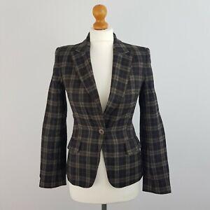 Aquascutum London Women's Brown Tartan Plaid Check Wool Blazer Jacket Size 6