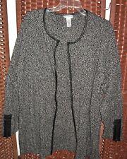 Catherines black open front blazer sweater 3X 26/28W jacket faux leather trim