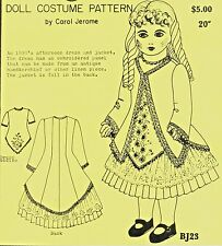 """20""""Antique French Bebe/Jumeau German Doll@1890's Embroidery Dress&Jacket Pattern"""