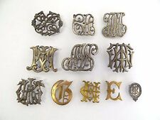 Vintage Lead Family Crest Initials Decorative Silver Gold Colored Pins Badges