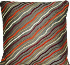 Diagonal Stripes Cushion Cover Embroidered Silk Fabric Matisse Red White Grey