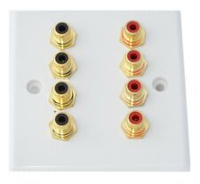 Slimline White 8 x RCA Phono Audio Wall face plate
