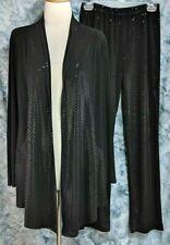 Clara Sun Woo Womens M Black Sequin Layering Top Elastic Waist Pants 2 Pc Set