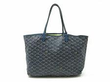 Authentic GOYARD Saint Louis PM Tote Bag Blue PVC Leather With Pouch 87359