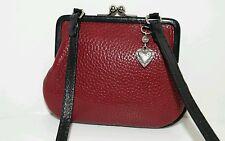 BRIGHTON Genuine Leather Small Coin Kisslock Crossbody Mini Organizer Purse