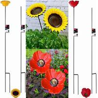 2 x CAST IRON POPPY SUNFLOWER GARDEN ORNAMENT WILD BIRD DISH FEEDER DISH BATH