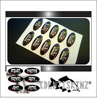 PERSONALISED Domed Stickers / Decal set of 5  FOR the Delkim TXI STD EV ALARMS