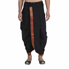 Men's Cotton Dhoti Traditional Wear Black Maroon & Golden Border