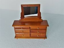 Dolls House  1:12  Furniture Walnut Colour 6 draw Dressing Table