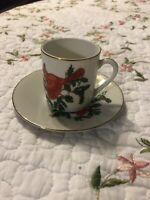 Vintage Japan Lefton Cardinal Holly Leaf Small Tea Cup and Saucer Plate Set