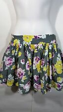 Boden Johnnie B Girls Skirt size Small gray floral lined petticoat Cotton AM17