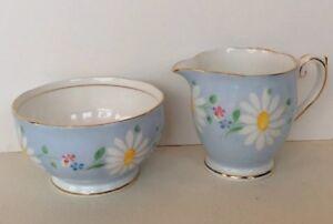 Vintage Queen Anne Cream Pitcher Sugar Bowl Bone China Pale Blue Floral