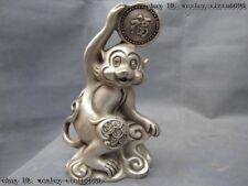 Chinese Folk White Copper Silver Fengshui Lucky Wealth Coin Zodiac Monkey Statue