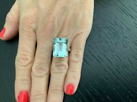 19.06 carat Natural Aquamarine and Diamond Ring 18k White Gold GIA Certified