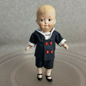 """6"""" artist M Brouse bisque German Heubach character boy doll w side glancing eyes"""