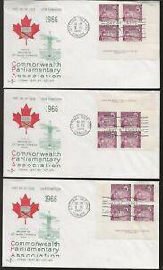 Canada 1966 Parliamentar Library Issue 4 FDC's Corner Blocks, 1 Single Scott 450