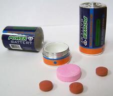 2 BATTERY C SHAPED STASH PILL BOX hide batteries novelty holder pills safe new