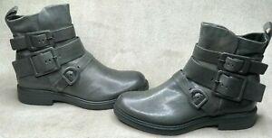 NIB Miz Mooz Casper Gunmetal Women's Ankle Boot Buckle Leather Boots Euro-38