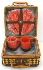 WICKER RATTAN SUITCASE STYLE PICNIC BASKET w/ DISHES, CUTLERY NICE