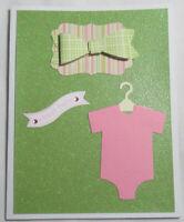 Stampin up! Handmade card Sweet Baby Girl Pink Green Glitter 3D Bow Bodysuit