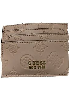 GUESS LEATHER  CREDIT CARD HOLDER Color Almond NWT