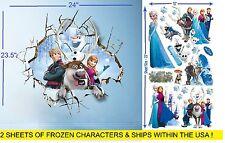 Disney Frozen 3D Breaking Thru Wall Stickers & 19 Elsa, Anna and friends 2sheets