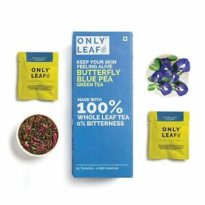 Onlyleaf Butterfly Pea Green Tea Made with 100% Whole Leaf, 27 Bags
