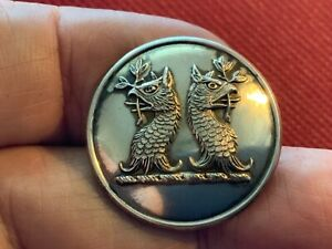LANE ~ TWO GRYPHON'S HEADS ERASED/ADDORSED S/P 25.5mm LIVERY BUTTON FIRMIN c1880