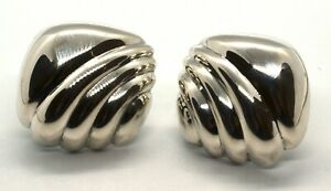 Vintage Tiffany & Co 925 Sterling Silver Small Hollow Shell Clip On Earrings T14