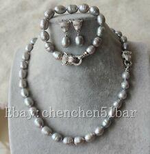 10-11mm weiße Süßwasserperlen Tiger Kopf Halskette Armband 18/8 Zoll & Ohrringe