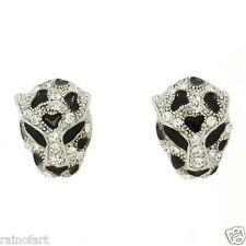 Jaguar Cheetah Tiger Leopard W Swarovski Crystal Silver Finish New Earrings