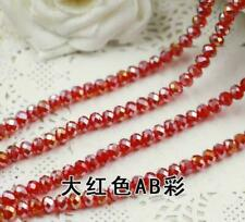 Hot 4mm 71pcs Faceted Rondelle Bicone Crystal Jewelry Beads Red AB DIY