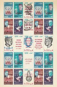 Qatar 1966 20 Ann UN / JFK Perf Overprint in Red Full Sheet, F-VF MNH