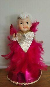 "Vintage Holt Howard Pink  Feather Angel Christmas Decoration 8""  Tree Topper"