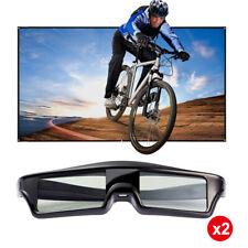 2x Blue-tooth Active 3D Shutter Brille HD Heimkino 3D Film USB Aufladbare Leiste