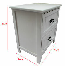 New White Gloss Wooden Small 2 Drawer Bedside Table /Cabinet Storage Cupboard