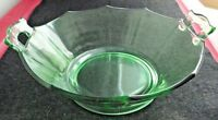 "Vintage Green Uranium Depression Glass Octagon 8.5"" Bowl with Applied Handles"