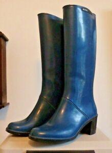 Tall Marc Jacobs Blue High Heel rain rubber boots wellies 10 GUC