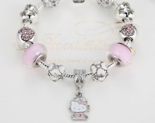 Disney Hello Kitty Pink Heart silvered Charms Children Bracelet XMAS KIDS GIFT