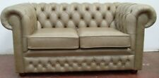 TRADITIONAL LEATHER CHESTERFIELD 2 SEATER SOFA SOFA IN OLD ENGLISH SAND