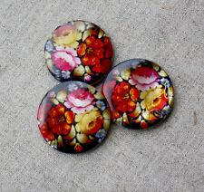 Shell printed double sided beads with flowers 30mm - pack of 5